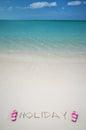 Escrita do feriado no sandy beach Imagem de Stock Royalty Free