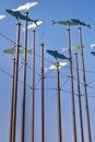 Esculturas do vento dos peixes Imagens de Stock