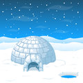Eskimo cold house from ice blocks in Antarctica vector illustration Royalty Free Stock Photo