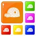 Eskimo igloo icons set vector color