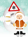 Eskimo illustration of with danger snow sign Royalty Free Stock Images