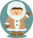 Eskimo Kid Waving Hello Isolated Illustration Royalty Free Stock Photo