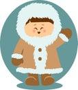 Eskimo Kid Waving Hello Isolated Illustration Royalty Free Stock Photo