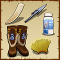 Eskimo set of tusk, harpoon, hat and seal fat