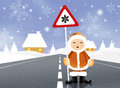 Eskimo with snow danger sign illustration of Royalty Free Stock Images