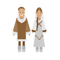 Eskimos national dress illustration of costume on white background Stock Images