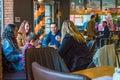 Eskisehir, Turkey - April 15, 2017: Family sitting in cafe shop