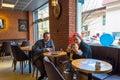 Eskisehir, Turkey - April 15, 2017: Family sitting in a cafe shop