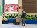 Eskisehir, Turkey - June 15, 2017: Traditional typical Turkish grocery bazaar in Eskisehir, Turkey.