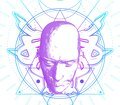 Esoteric mystical symbol with 3d head model Royalty Free Stock Photo