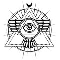 Esoteric symbol: winged pyramid, knowledge eye, sacred geometry. Royalty Free Stock Photo