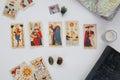 Esoteric table with astrological wheel, magic pendulum, tarots,  healing stones Royalty Free Stock Photo