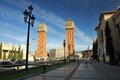 Espanya square in barcelona and national palace Royalty Free Stock Photos