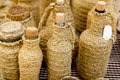 Esparto bottle handcrafts Mediterranean crafts Stock Image