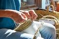 Esparto halfah grass crafts craftsman hands Royalty Free Stock Photo