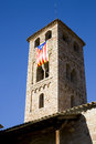 Espinelves church spain with catalan pro independence flag Stock Images