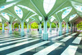 Esplanade of the mosque with its roof in form creating an umbrella atmosphere tranquillity and peace tree Royalty Free Stock Images
