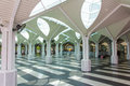 Esplanade of the mosque with its roof in form creating an umbrella atmosphere tranquillity and peace tree Royalty Free Stock Photos