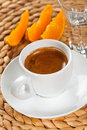 Espresso caffee in white cup orange flavor Royalty Free Stock Images