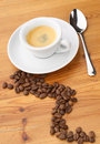 Espresso coffee and beans Stock Images
