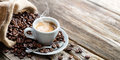 Espresso Coffee Cup With Beans Royalty Free Stock Photo