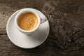 Espresso coffee cup with foam on top view Royalty Free Stock Photo