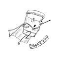 Espresso coffee cup superhero character