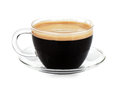 Espresso coffee in glass cup Royalty Free Stock Photo