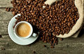 Espresso and coffee grain Royalty Free Stock Photo