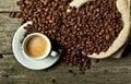 Espresso and coffee grain Royalty Free Stock Photo