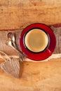 Espresso coffee, red enamel mug Royalty Free Stock Photo