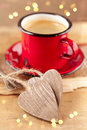 Espresso coffee, red enamel mug,  two hearts Royalty Free Stock Photos