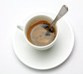 Espresso coffee in white cup and spoon Stock Image
