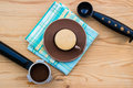 Espresso cup with handle, metal spoon and tamper Royalty Free Stock Photo