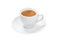 Espresso cup hot coffee in white porcelain and saucer on a white background Stock Photography