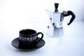 Espresso cup with moka pot on a white background Stock Photos