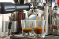 Espresso double shot in coffee maker Stock Photography