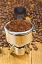Espresso machine group head an with fresh ground coffee Stock Photos