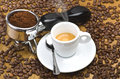 Espresso machine group head an with fresh ground coffee Royalty Free Stock Photo
