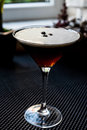 Espresso Martini Cocktail with coffee beans. Royalty Free Stock Photo