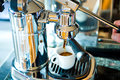 Espresso mechanical lever esressomachine with cup Royalty Free Stock Photography