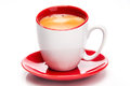 Espresso red white cup close up white background Royalty Free Stock Image