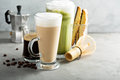 Espresso, regular coffee and matcha latte Royalty Free Stock Photo