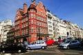 Esquina de la calle muy transitada en Londres Imagen de archivo libre de regalías