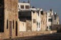 Essaouira walls ramparts and houses of in evening lights Royalty Free Stock Images