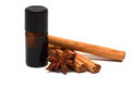 Essence with cinnamon sticks and anice essential oil on white background Stock Image