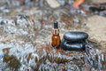Essence oil and zen stone in spa concept health Stock Photography