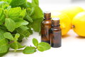 Essential aroma oil with mint and lemon Royalty Free Stock Photos