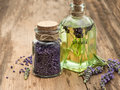 Essential lavender oil, herbal soap and bath salt Royalty Free Stock Photo