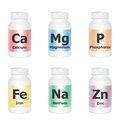 Essential minerals vector illustration of medical bottles with symbols on white background Royalty Free Stock Photos